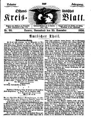 Osthavelländisches Kreisblatt vom 20.11.1858