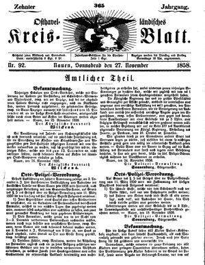 Osthavelländisches Kreisblatt vom 27.11.1858