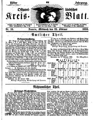 Osthavelländisches Kreisblatt on Feb 23, 1859