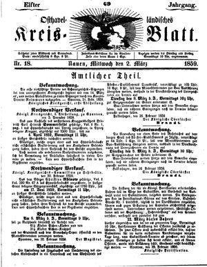 Osthavelländisches Kreisblatt vom 02.03.1859