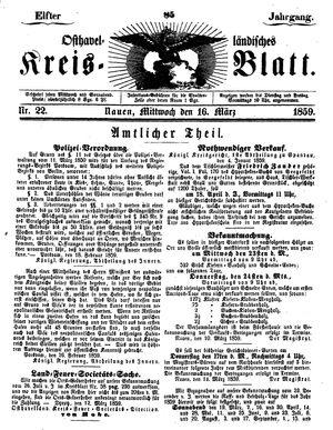 Osthavelländisches Kreisblatt vom 16.03.1859