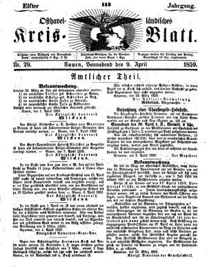 Osthavelländisches Kreisblatt vom 09.04.1859