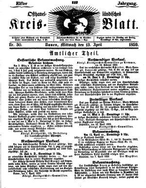 Osthavelländisches Kreisblatt vom 13.04.1859