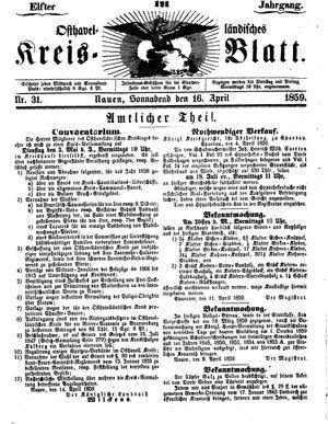 Osthavelländisches Kreisblatt vom 16.04.1859