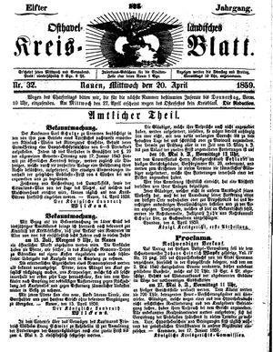 Osthavelländisches Kreisblatt vom 20.04.1859