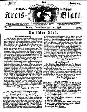 Osthavelländisches Kreisblatt on Apr 23, 1859