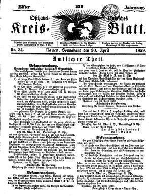 Osthavelländisches Kreisblatt vom 30.04.1859