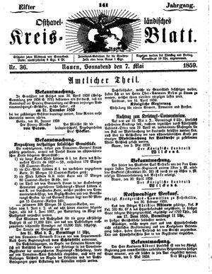 Osthavelländisches Kreisblatt vom 07.05.1859