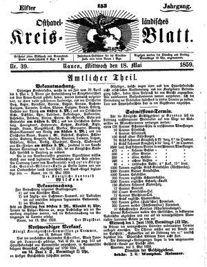 Osthavelländisches Kreisblatt vom 18.05.1859