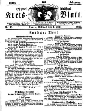Osthavelländisches Kreisblatt vom 01.06.1859