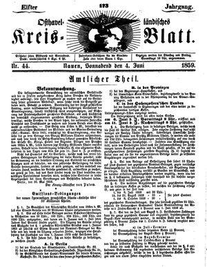 Osthavelländisches Kreisblatt vom 04.06.1859