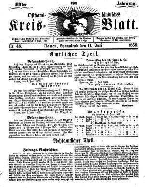 Osthavelländisches Kreisblatt on Jun 11, 1859