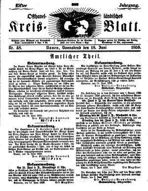 Osthavelländisches Kreisblatt vom 18.06.1859