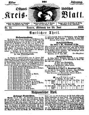 Osthavelländisches Kreisblatt vom 29.06.1859