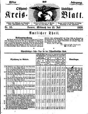 Osthavelländisches Kreisblatt vom 13.07.1859