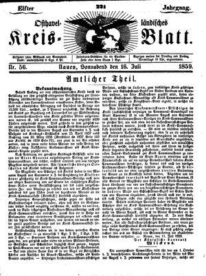 Osthavelländisches Kreisblatt vom 16.07.1859