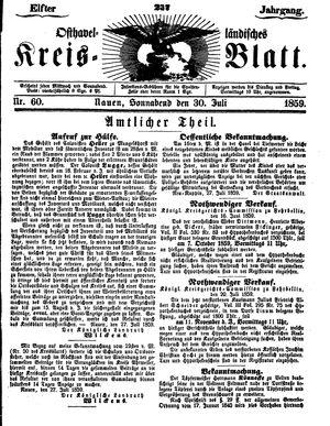 Osthavelländisches Kreisblatt vom 30.07.1859