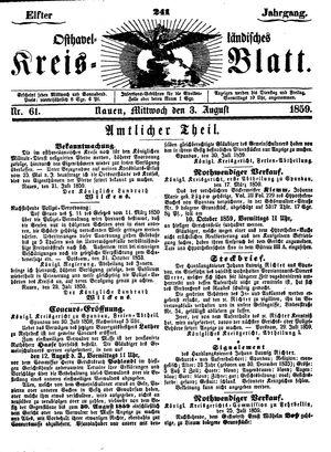 Osthavelländisches Kreisblatt vom 03.08.1859