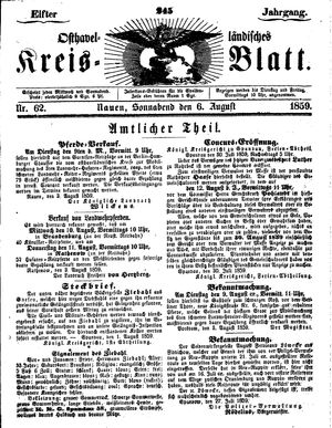 Osthavelländisches Kreisblatt vom 06.08.1859