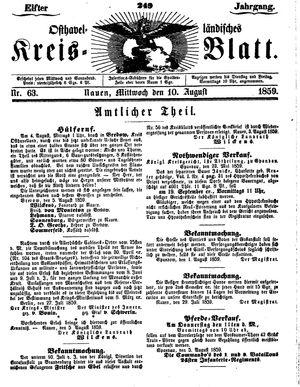 Osthavelländisches Kreisblatt vom 10.08.1859