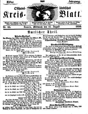 Osthavelländisches Kreisblatt vom 17.08.1859