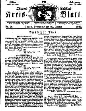 Osthavelländisches Kreisblatt vom 20.08.1859