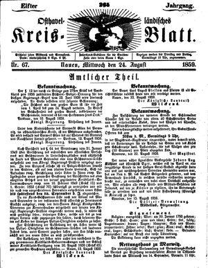 Osthavelländisches Kreisblatt vom 24.08.1859