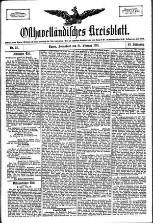 Osthavelländisches Kreisblatt vom 21.02.1891