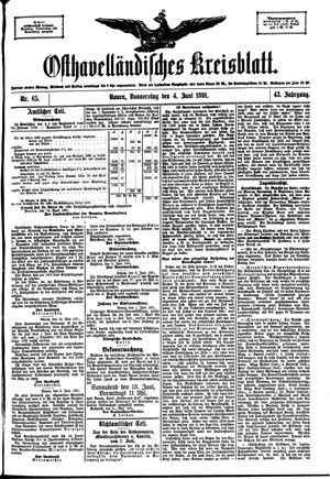 Osthavelländisches Kreisblatt on Jun 4, 1891