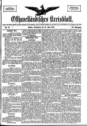 Osthavelländisches Kreisblatt on Jun 13, 1891