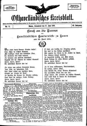 Osthavelländisches Kreisblatt on Jun 27, 1891