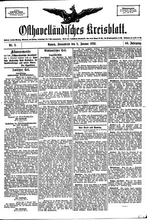 Osthavelländisches Kreisblatt vom 09.01.1892