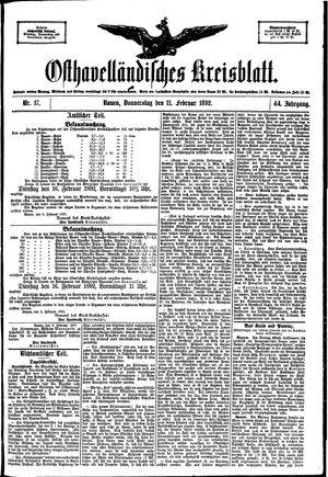 Osthavelländisches Kreisblatt vom 11.02.1892