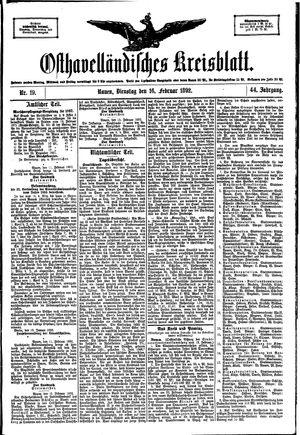 Osthavelländisches Kreisblatt vom 16.02.1892