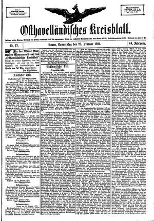 Osthavelländisches Kreisblatt vom 25.02.1892