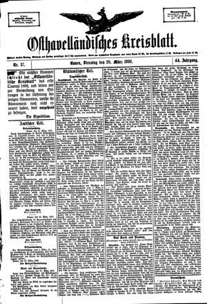 Osthavelländisches Kreisblatt vom 29.03.1892