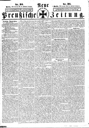 Neue preußische Zeitung vom 10.02.1858