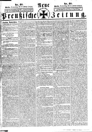 Neue preußische Zeitung vom 18.02.1858