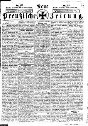 Neue preußische Zeitung vom 25.02.1858