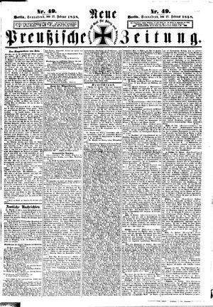 Neue preußische Zeitung vom 27.02.1858