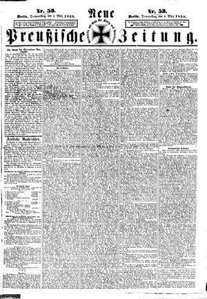 Neue preußische Zeitung vom 04.03.1858