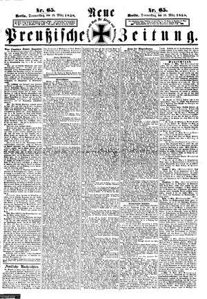 Neue preußische Zeitung vom 18.03.1858