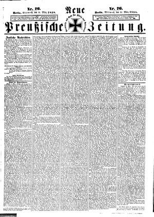 Neue preußische Zeitung vom 31.03.1858