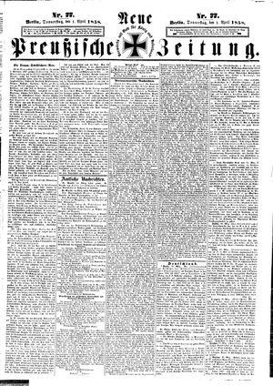 Neue preußische Zeitung vom 01.04.1858