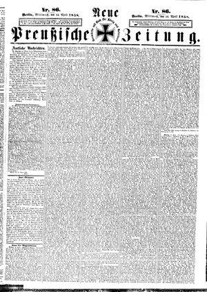 Neue preußische Zeitung vom 14.04.1858