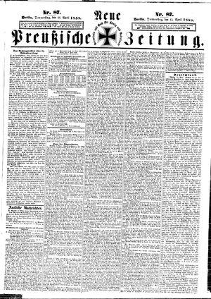 Neue preußische Zeitung vom 15.04.1858