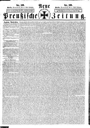 Neue preußische Zeitung vom 17.04.1858
