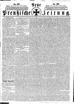 Neue preußische Zeitung vom 21.04.1858