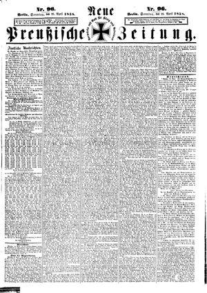 Neue preußische Zeitung vom 25.04.1858
