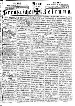 Neue preußische Zeitung on Aug 10, 1858